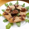 healthy spelt crepes with caramelized onions, figs, arugula